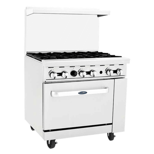 "AGR-6B-LP CookRite Range, LP gas, 36""W x 31""D x 57-3/8""H, (6) 32,000 BTU open burners, removable cast iron top"