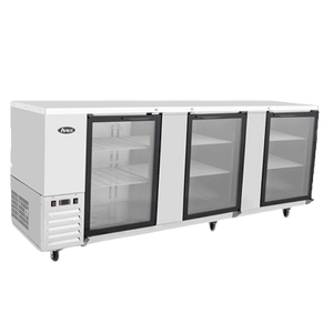 "MBB90G-GR Atosa Back Bar Cooler, three-section, 89-1/4""W x 28-1/8""D x 40-1/8""H, self-contained side mount refr"