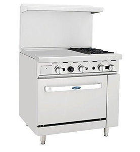"ATO-24G2B CookRite Range, gas, 36""W x 32.6""D x 56.4""H, (2) 25,000 BTU open burners, 24""W griddle on the left,"