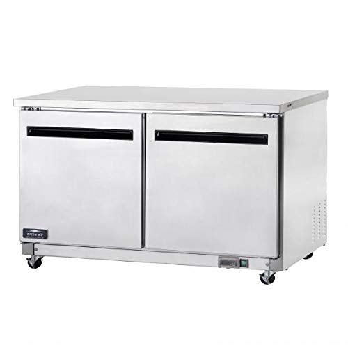 Arctic Air AUC60F 60-Inch Two-Door Undercounter Work Top Freezer, Stainless Steel, 1/2-HP, 115v