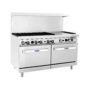 "ATO-6B24G CookRite Range, gas, 60""W x 32-3/5""D x 57-3/8""H, (6) 25,000 BTU open burners & 24""W griddle on the r"
