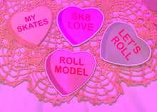 "Load image into Gallery viewer, Roller-Skate Themed Conversation Heart Stickers (3"" x 3"")"