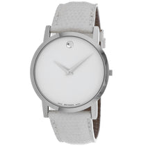 Ladies White Classic Leather Analogue Movado Watch 605650
