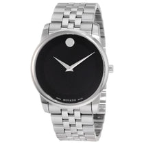 Ladies Black Linio Analogue Stainless Steel Movado Watch 606505