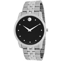 Men's Black Museum Stainless Steel Movado Watch 606878