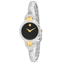 Ladies Silver/Gold Kara Leather Analogue Movado Watch 606948