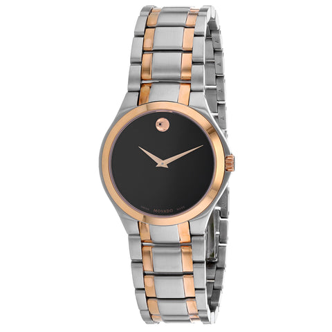 Ladies Black Classic Stainless Steel Analogue Movado Watch 607084