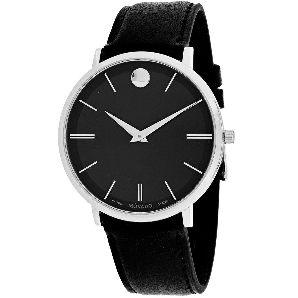 Ladies Black Ultra Slim Leather Analogue Movado Watch 607086
