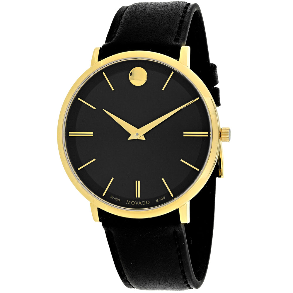 Ladies Black Ultra Slim Leather Analogue Movado Watch 607087