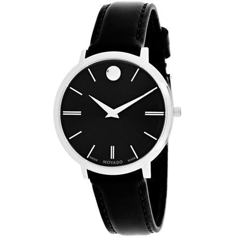 Ladies Black Ultra Slim Leather Analogue Movado Watch 607090