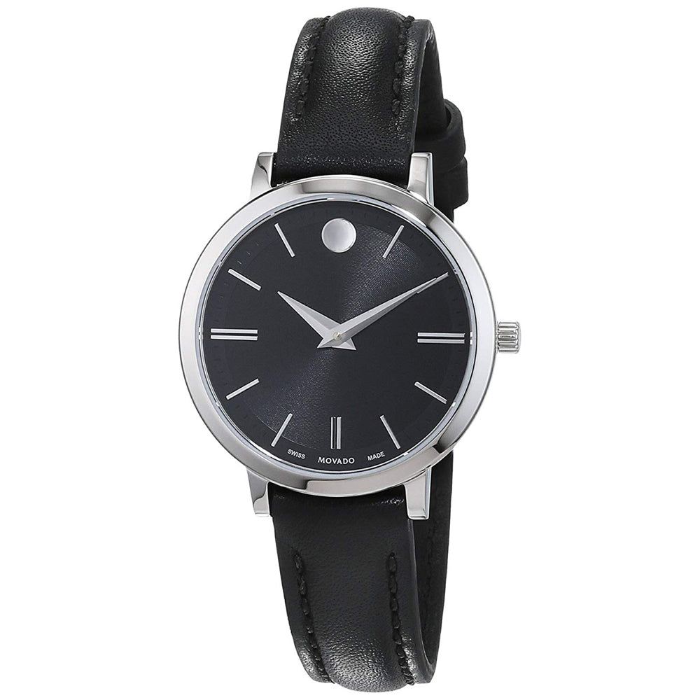 Ladies Black Ultra Slim Leather Analogue Movado Watch 607094