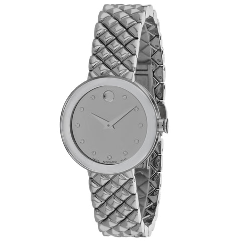 Ladies Silver Sapphire Stainless Steel Analogue Movado Watch 607106