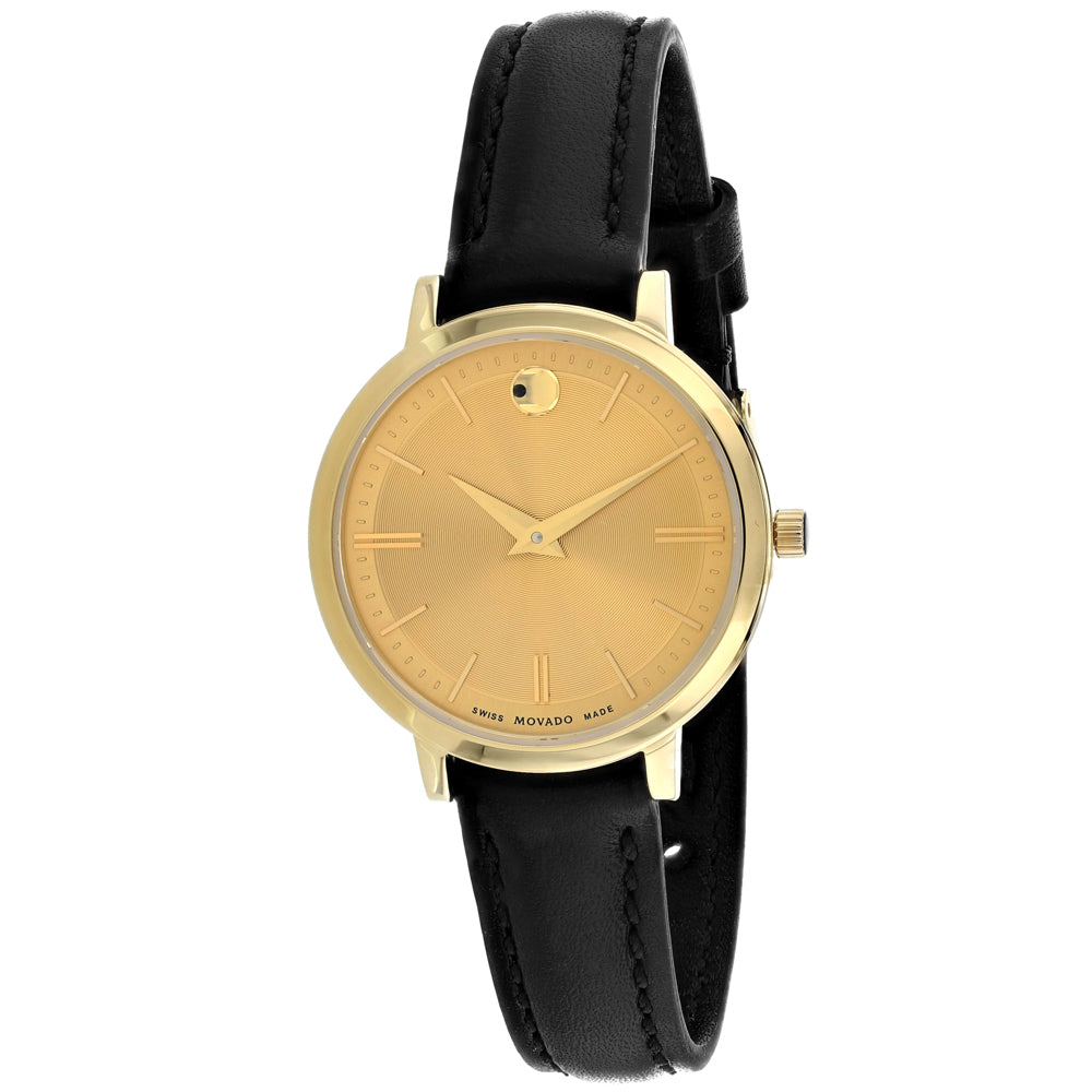Ladies Gold Ultra Slim Leather Analogue Movado Watch 607158