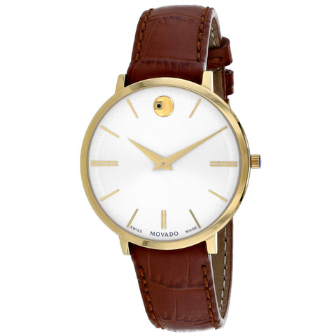 Ladies Brown Ultra Slim Leather Analogue Movado Watch 607176