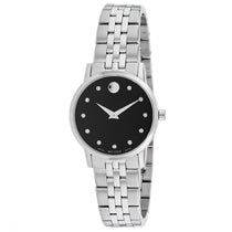 Ladies Black Museum Classic Stainless Steel Analogue Movado Watch 607207
