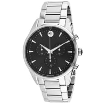Men's Black Stratus Stainless Steel Chronograph Movado Watch 607247