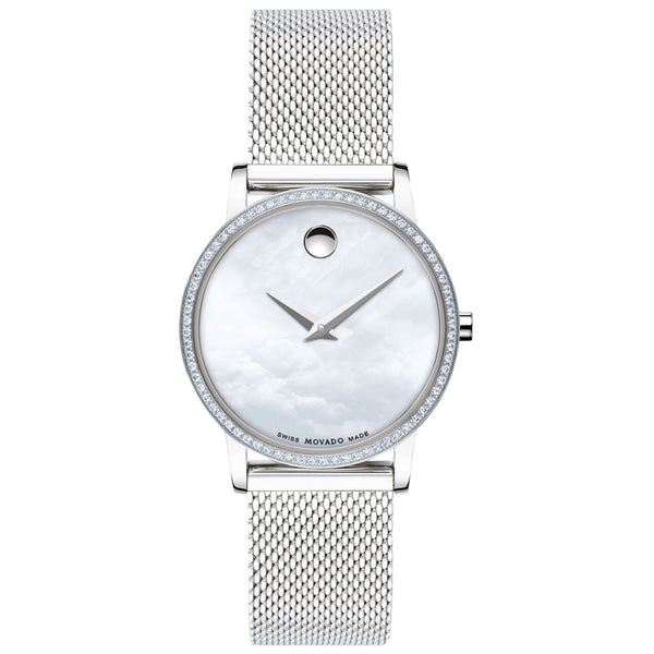Ladies Mother Of Pearl Museum Analogue Stainless Steel Movado Watch 607306