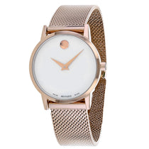 Ladies Rose Gold Museum Stainless Steel Analogue Movado Watch 607352