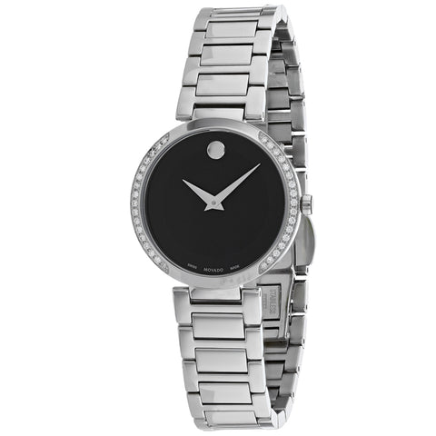 Ladies Silver Modern Classic Stainless Steel Analogue Movado Watch 607367