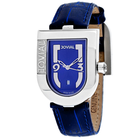 Ladies Blue Classic Leather Analogue Jovial Watch 06406-MSL-03