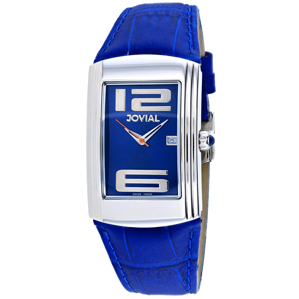 Men's Blue Classic Leather Analogue Jovial Watch 08004-GSL-03