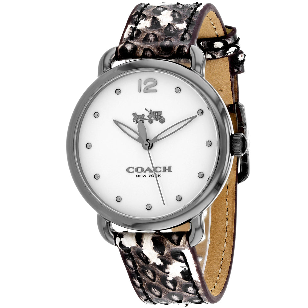 Ladies Black Delancey Leather Analogue Coach Watch 14502712