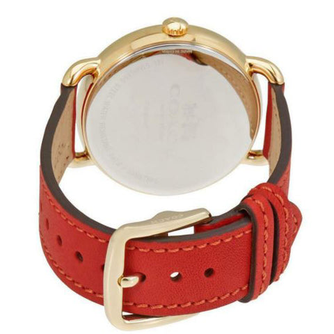 Ladies Red Delancey Leather Analogue Coach Watch 14502719