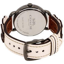 Ladies White Delancey Leather Analogue Coach Watch 14502746