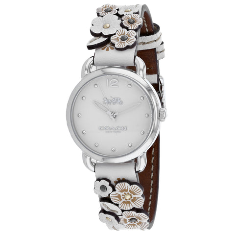 Ladies White Delancey Leather Analogue Coach Watch 14502760