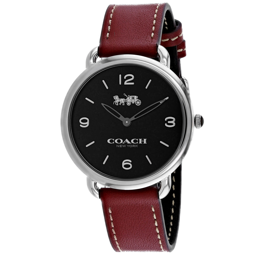Ladies Burgundy Delancey Leather Analogue Coach Watch 14502796