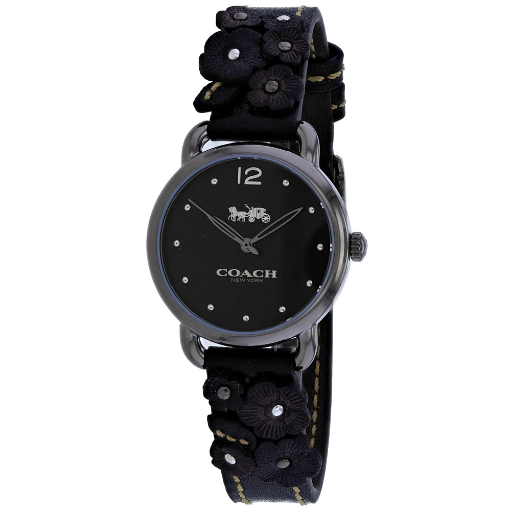 Ladies Black Delancey Leather Analogue Coach Watch 14502816