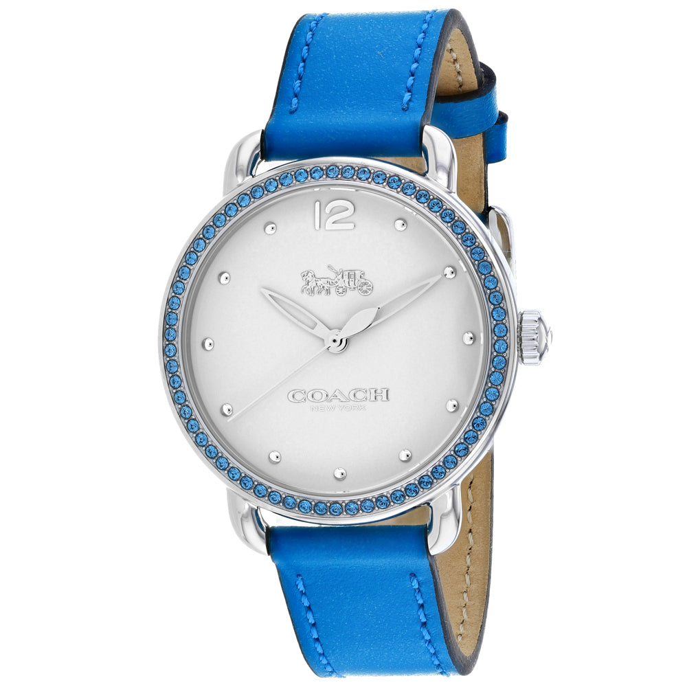 Ladies Blue Delancey Leather Analogue Coach Watch 14502884