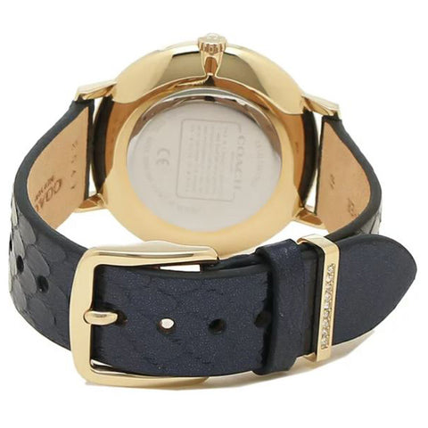 Ladies Navy Audrey Leather Analogue Coach Watch 14503351