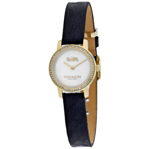 Ladies Navy Classic Leather Analogue Coach Watch 14503364