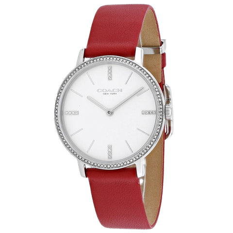 Ladies Red Audrey Leather Analogue Coach Watch 14503427