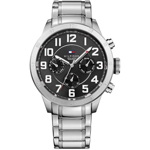 Men's Trent Black & Silver Stainless Steel Tommy Hilfiger Watch 1791054