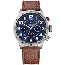 Men's Trent Brown Leather Strap Tommy Hilfiger Watch 1791066