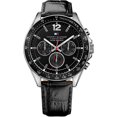 Men's Black Leather Chronograph Tommy Hilfiger Watch 1791117