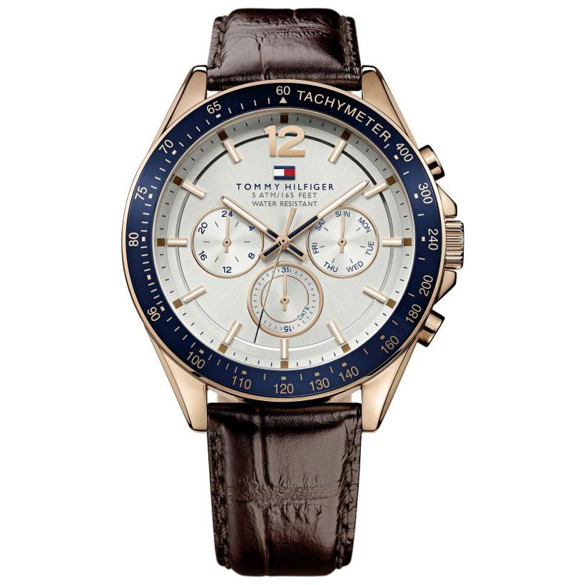 Men's Luke Brown Leather Chronograph Tommy Hilfiger Watch 1791118
