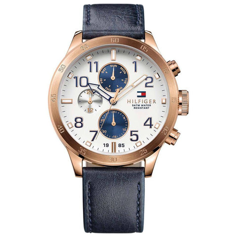 Men's Trent Blue Leather Strap Chronograph Tommy Hilfiger Watch 1791139