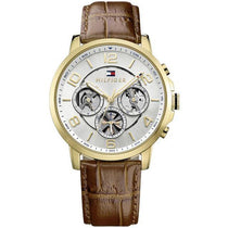 Men's Keagan White Dial Brown Leather Strap Tommy Hilfiger Watch 1791291