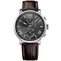 Men's Alden Black & Brown Leather Strap Tommy Hilfiger Watch 1791309