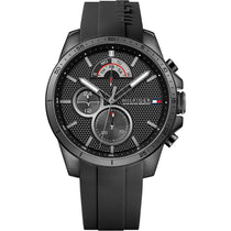 Men's Cool Sport Black Rubber Chronograph Tommy Hilfiger Watch 1791352