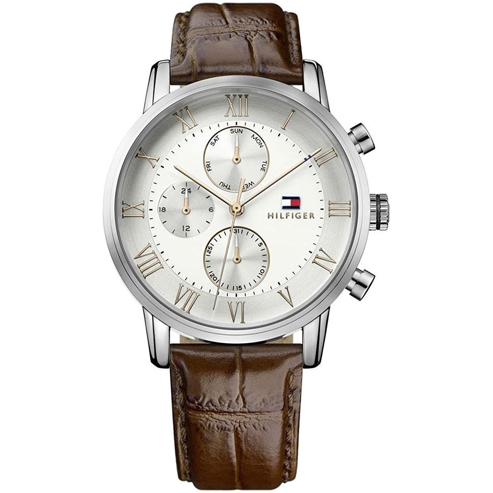 Men's Kane White & Brown Leather Strap Tommy Hilfiger Watch 1791400