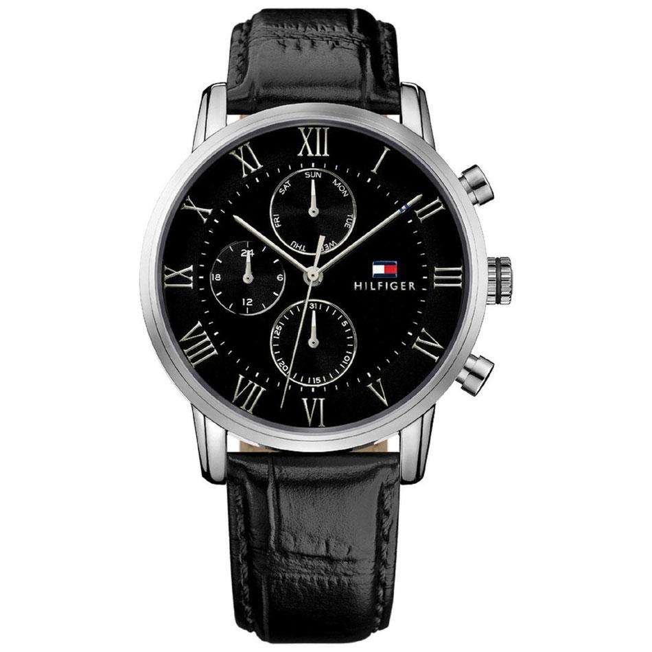 Men's Kane Black Leather Strap Tommy Hilfiger Watch 1791401