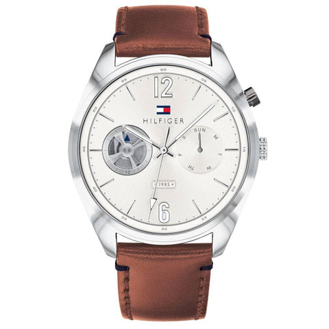 Men's Deacan White Dial Brown Leather Strap Tommy Hilfiger Watch 1791550