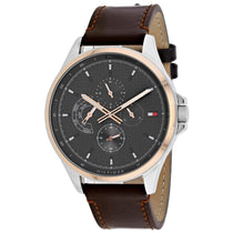 Men's Brown Shawn Leather Analogue Tommy Hilfiger Watch 1791615