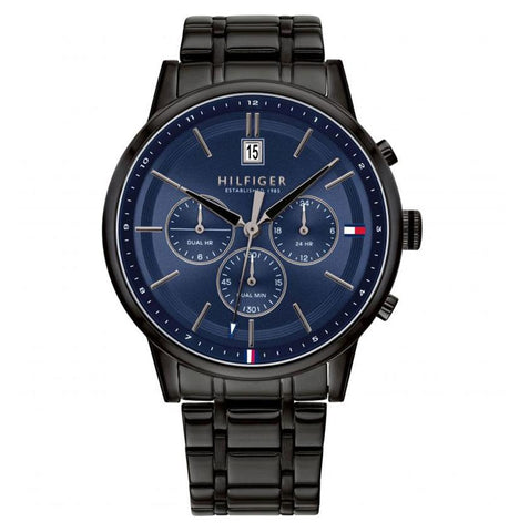 Men's Kyle Black Stainless Steel Chronograph Tommy Hilfiger Watch 1791633