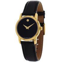 Ladies Black Classic Leather Analogue Movado Watch 2100007