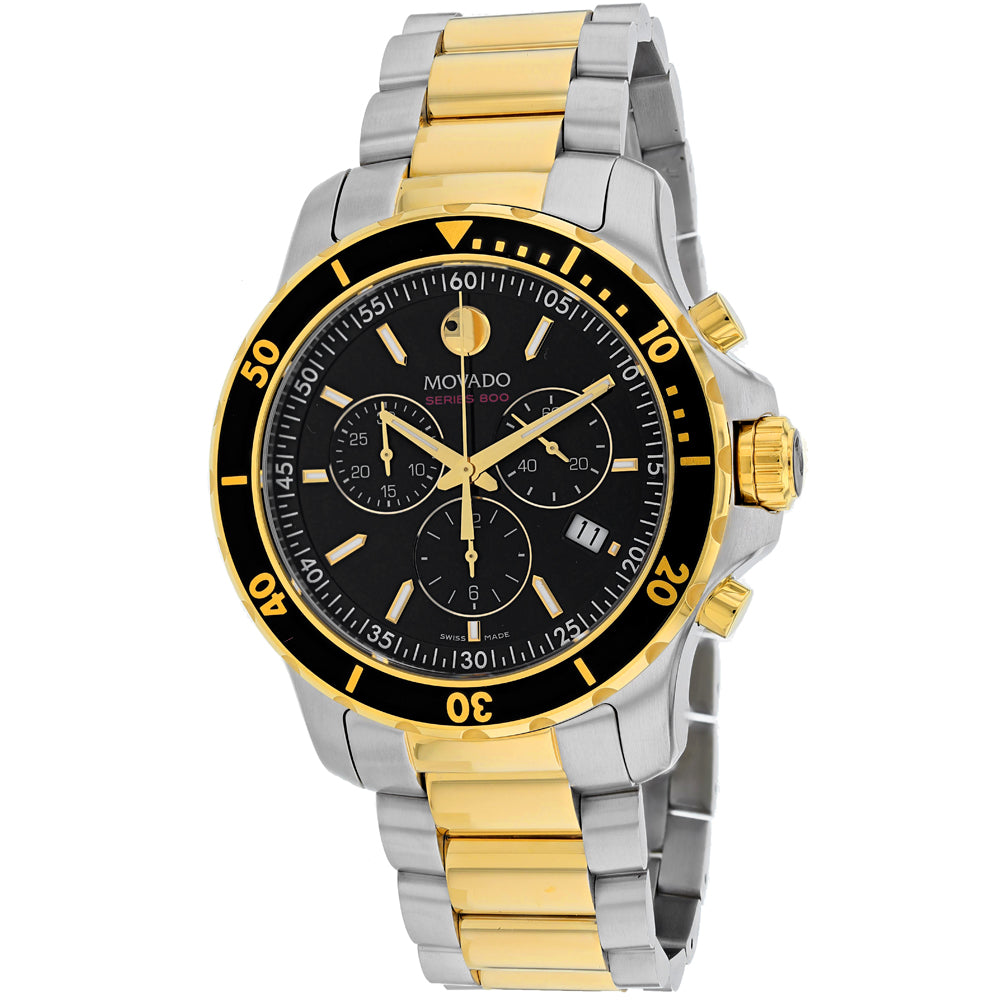 Men's Silver-Gold 2 Tone Chronograph Stainless Steel Movado Watch 2600146